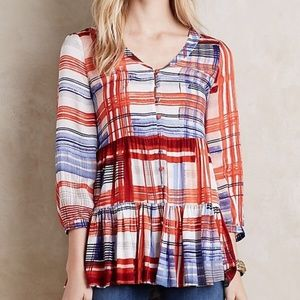 Anthropologie Maeve Lila Plaid Swing Tunic Top  M